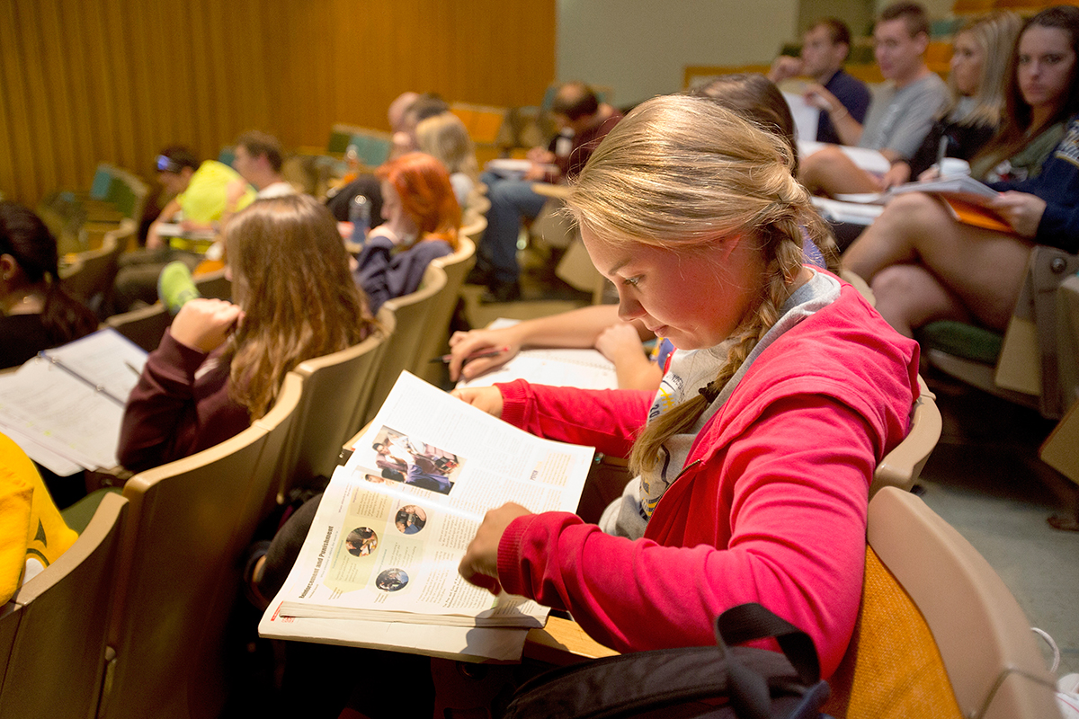 Students in class at Clarke University.