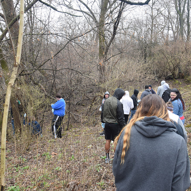 Biology students from Clarke Unviersity out in the field