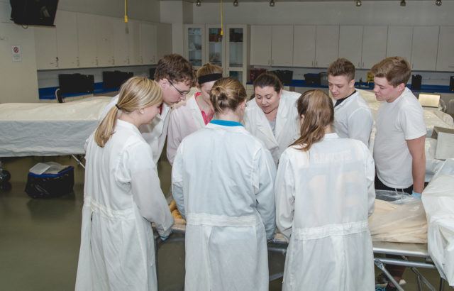 Biology Majors in Cadaver Lab-Gross Anatomy Lab