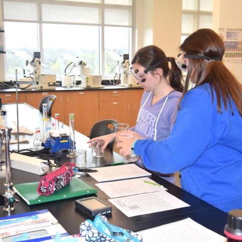 Clarke University Biochemistry majors in class