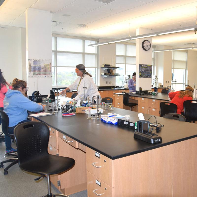 Chemistry class in progress at Clarke University