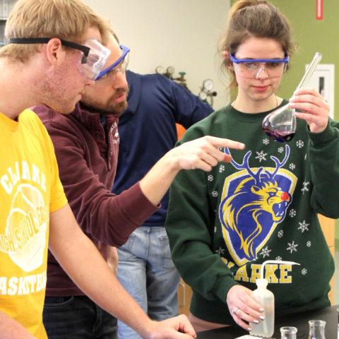 Students in Clarke University's chemistry degree program learning in class