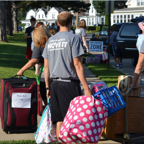 Moving students into their dorm rooms