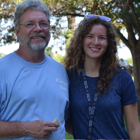 Clarke student with family on move in day