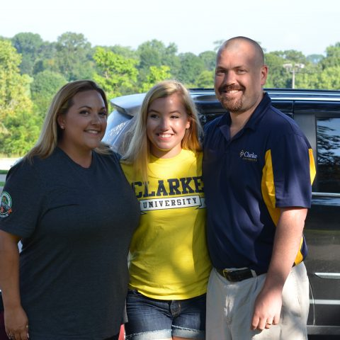 Clarke student with parents