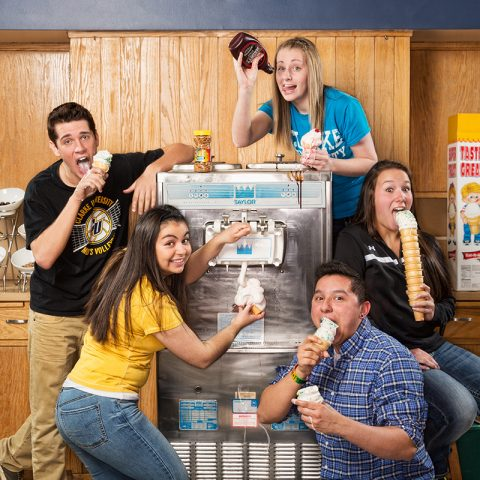 Clarke University students enjoying Ice Cream in Cafeteria