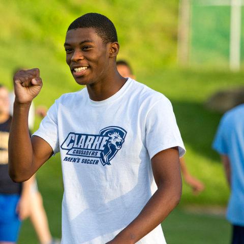 Student during the kickball tournament