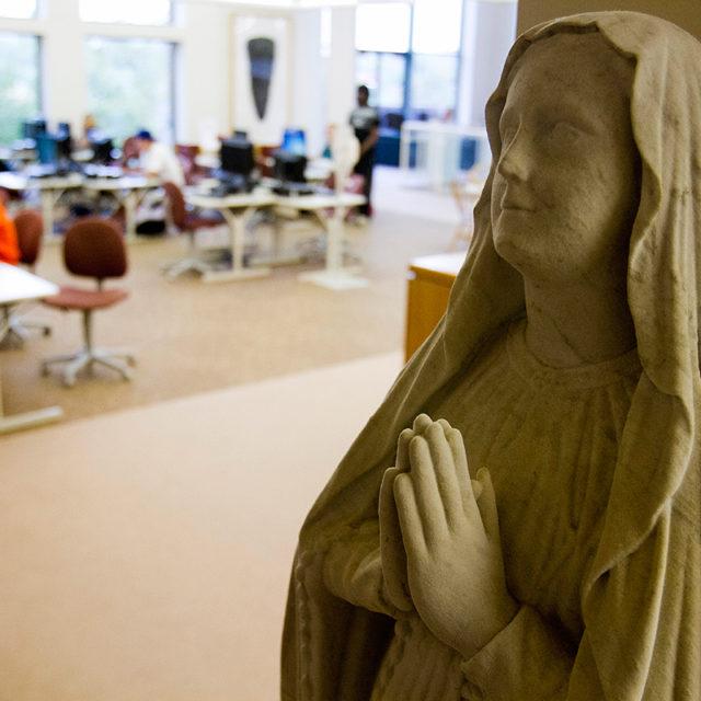 Statue in Clarke University's Library - based in Dubuque, Iowa