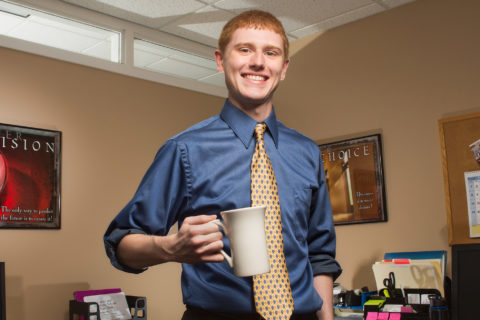 Clarke University Business Accounting major Kyle Collins at his Business School focused Internship.