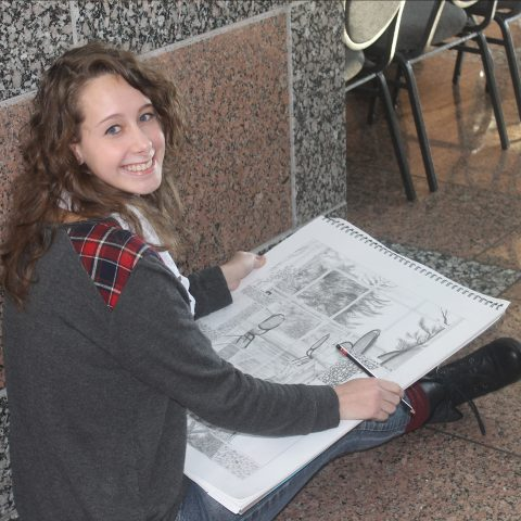 Students draw on campus