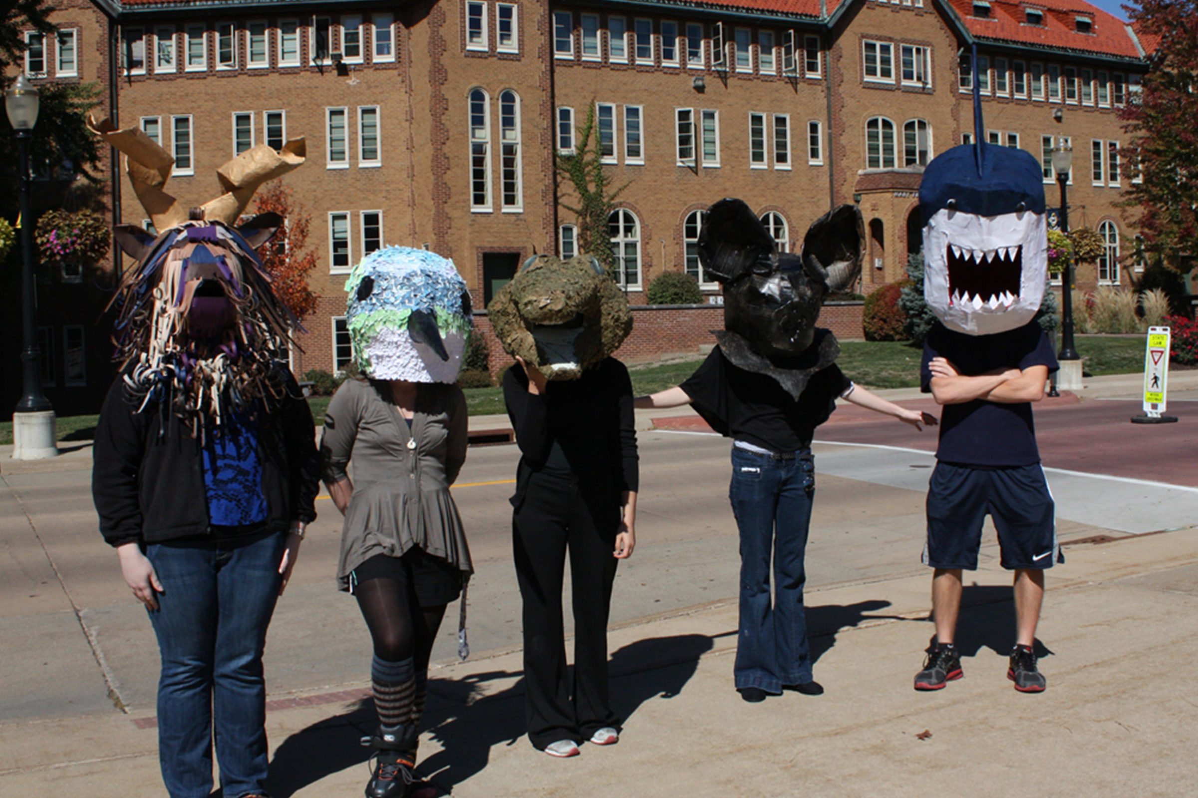 Clarke University Art Education students making masks for a project.