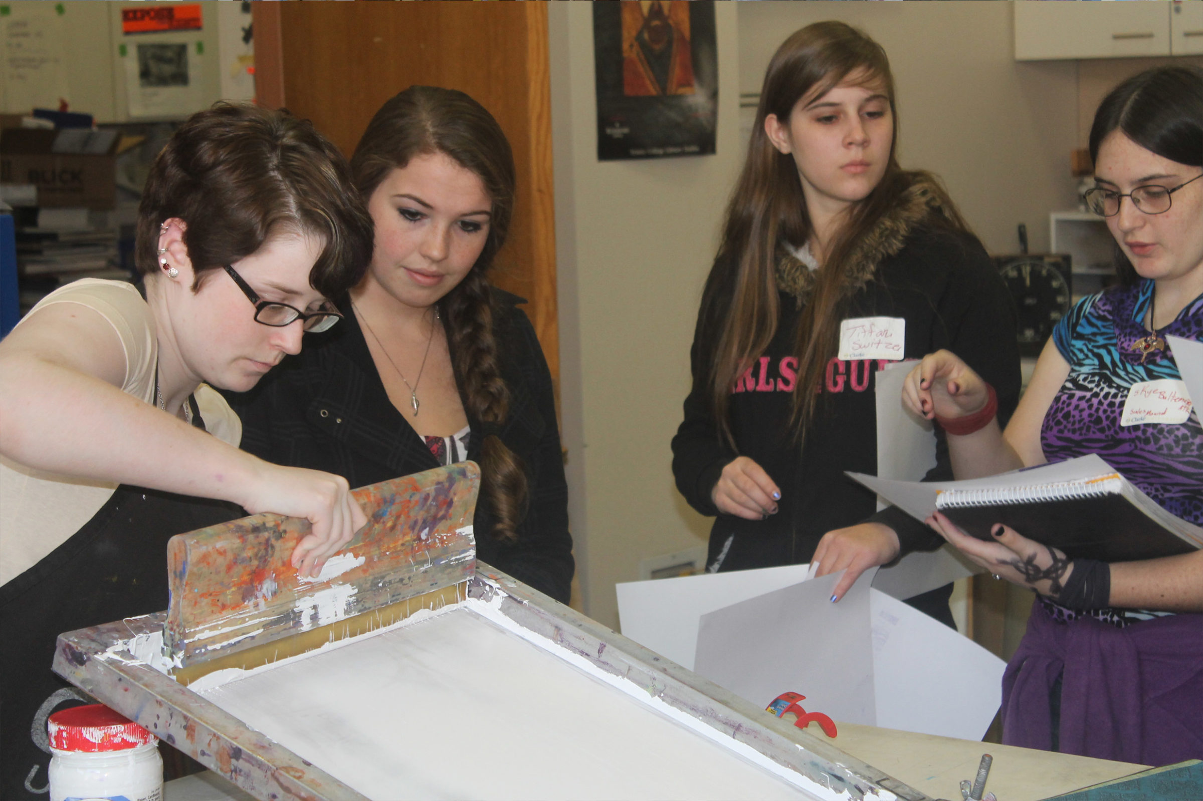 Clarke University Art Education students learning hands on techniques.