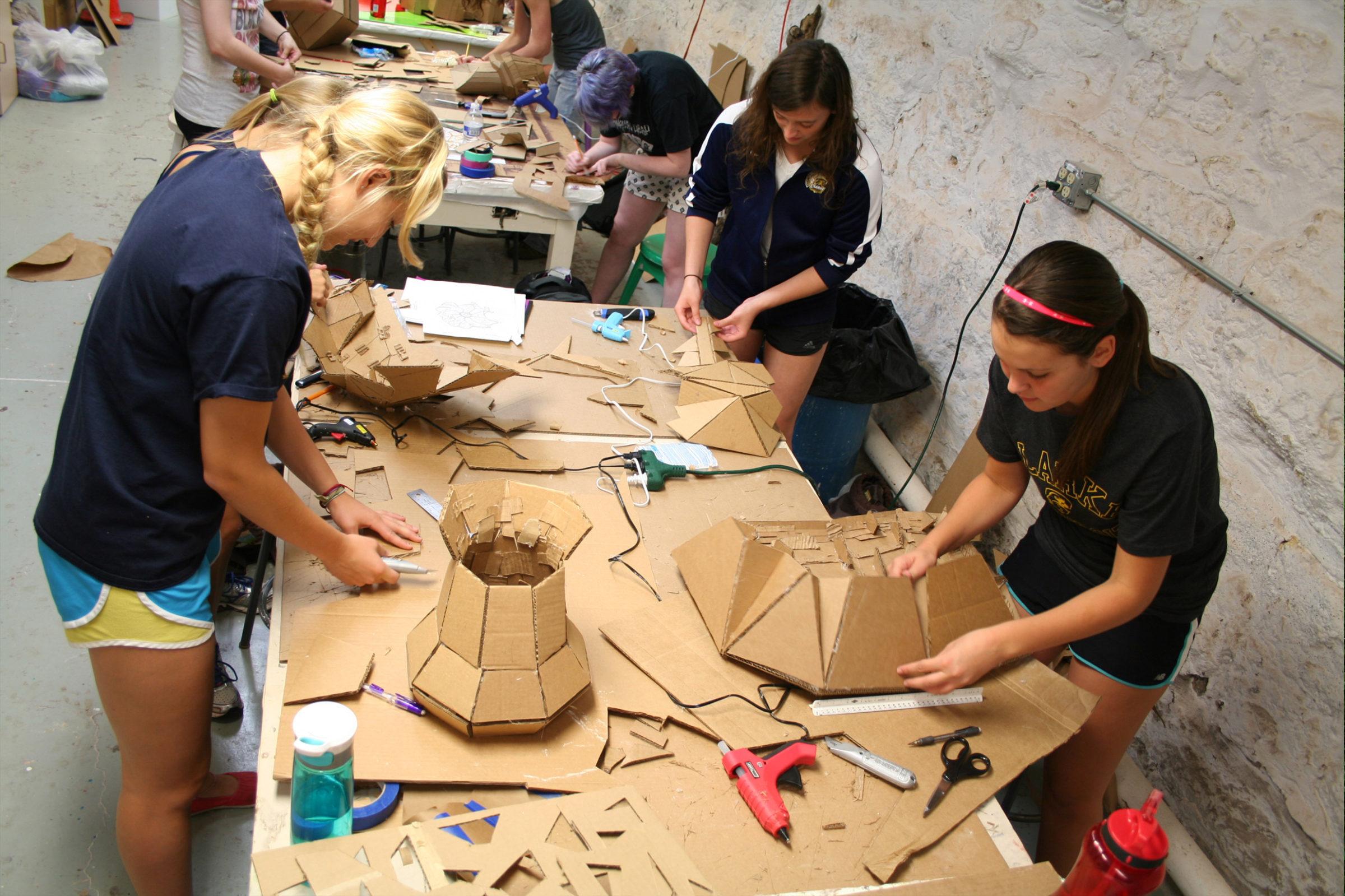 Clarke University Art students in studio on campus.