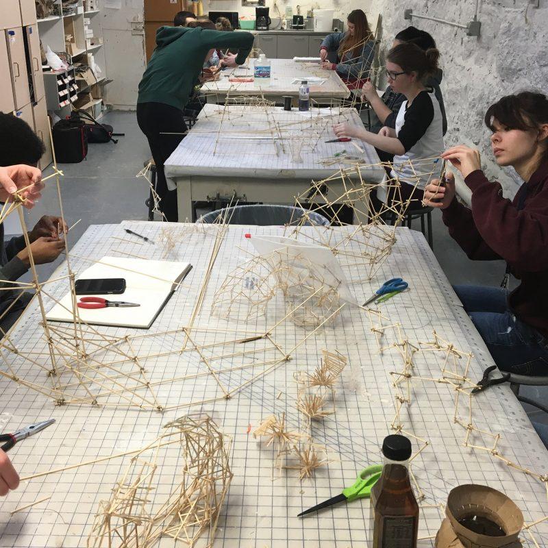 Art majors working on sculpture