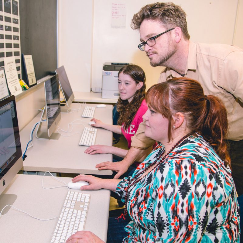 Communications Majors Working in the computer lab at Clarke University