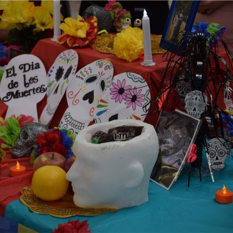 Dia De Los Muertos decorations by Spanish Language and Culture minor students at Clarke University