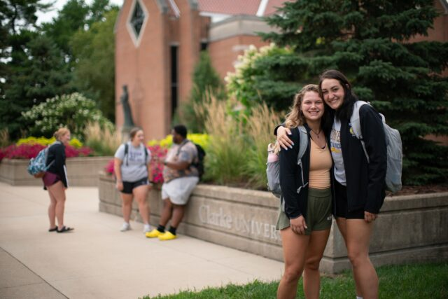 Students on the Clarke University Campus