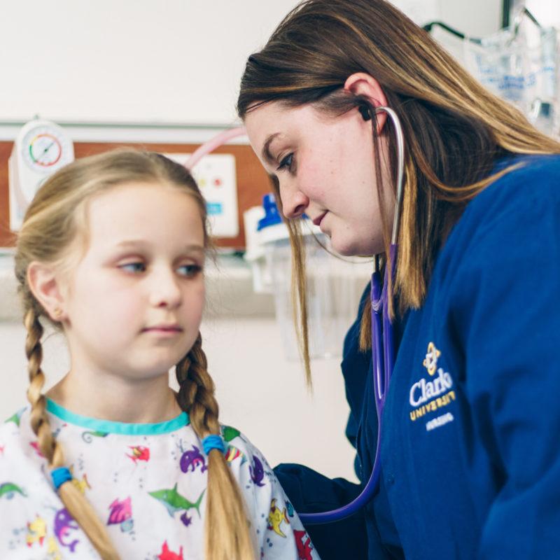 Clarke Nursing Student gaining hands on nursing experience