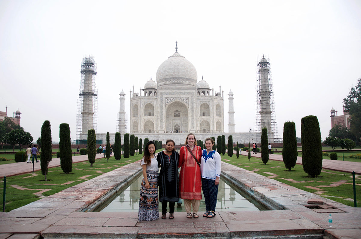 Clarke students studying abroad in India.