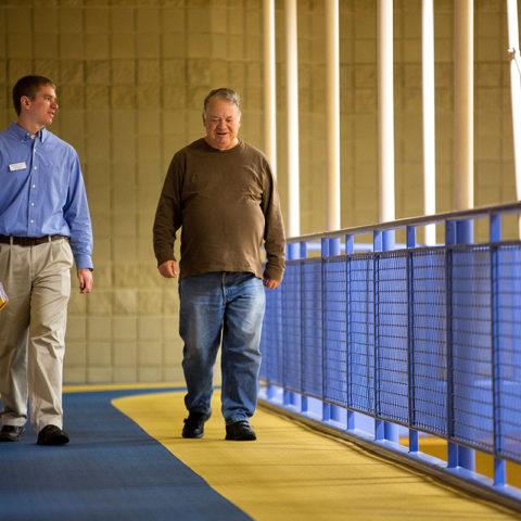Men walking on the Kehl track
