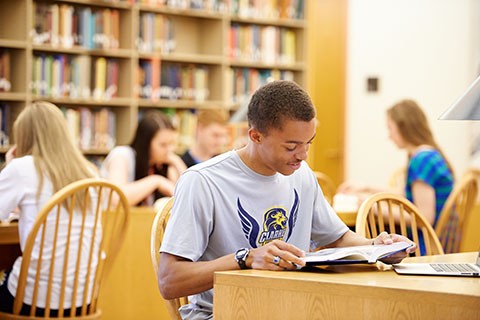 Clarke University Justice and Peace student studying in the library.