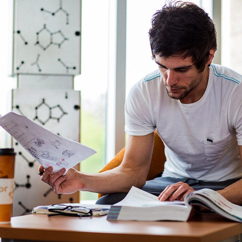 Clarke University Philosophy major studying.