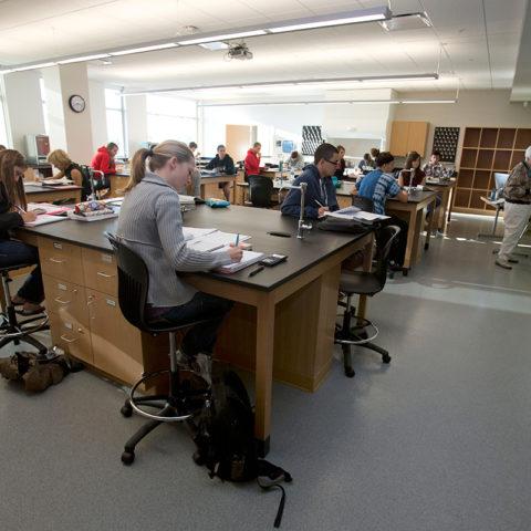 Students in Clarke University Biochemistry Major learning in class