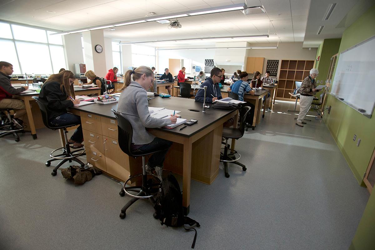 Clarke University biochemistry students in class